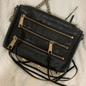 REBECCA MINKOFF - BLACK 5-zip CROSS-BODY HANDBAG